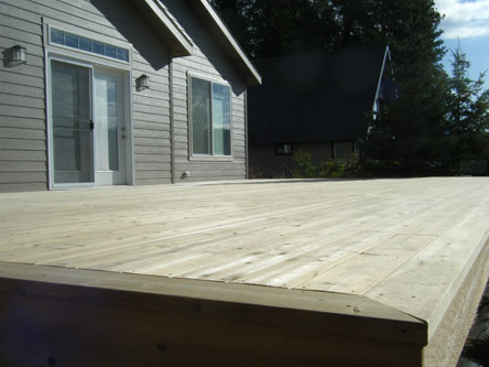 Side view of a wooden deck