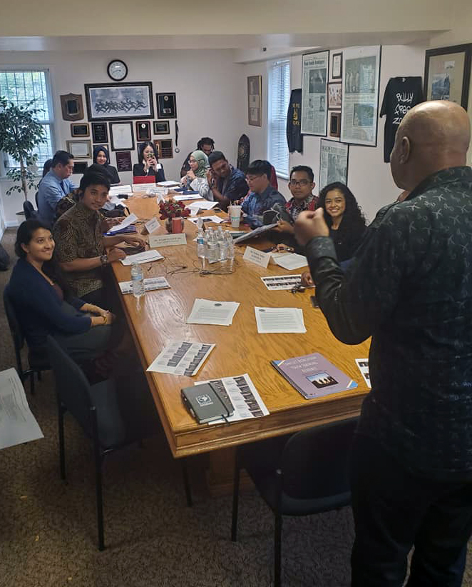 Tyrone Parker speaking to group at ACM HQ