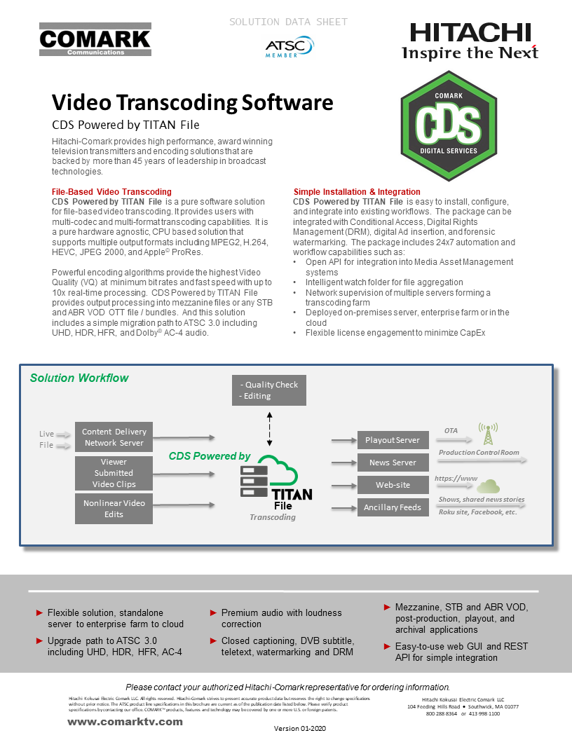 CDS Powered by Titan File SW Transcoding Brochure Jan-2020