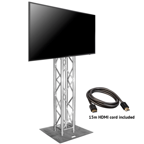 """75"""" TV hire on truss stand **-0"""