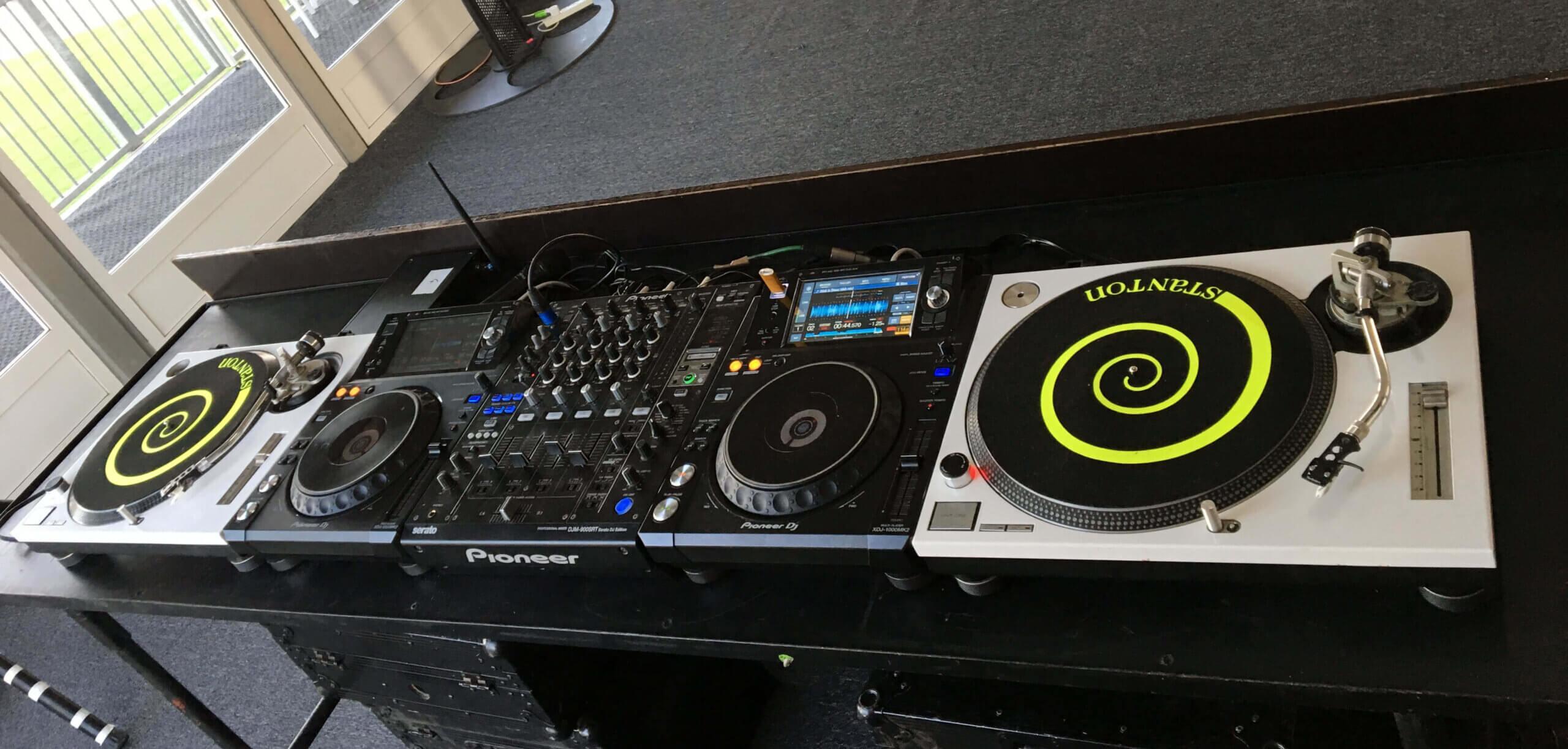 DJ equipment on DJ booth