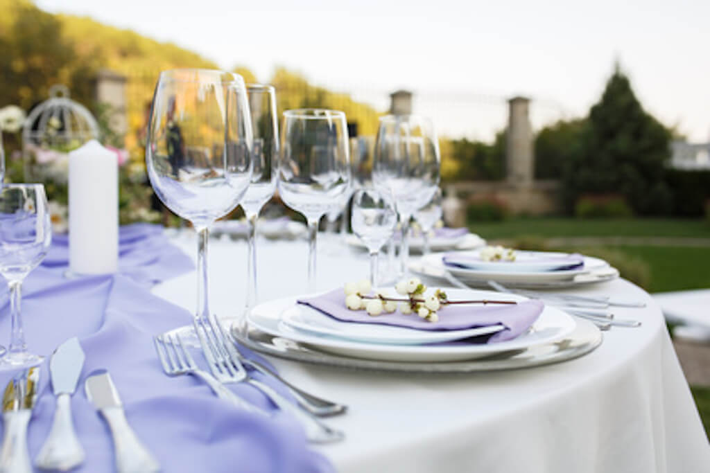 Table setting at a luxury wedding or another catered event