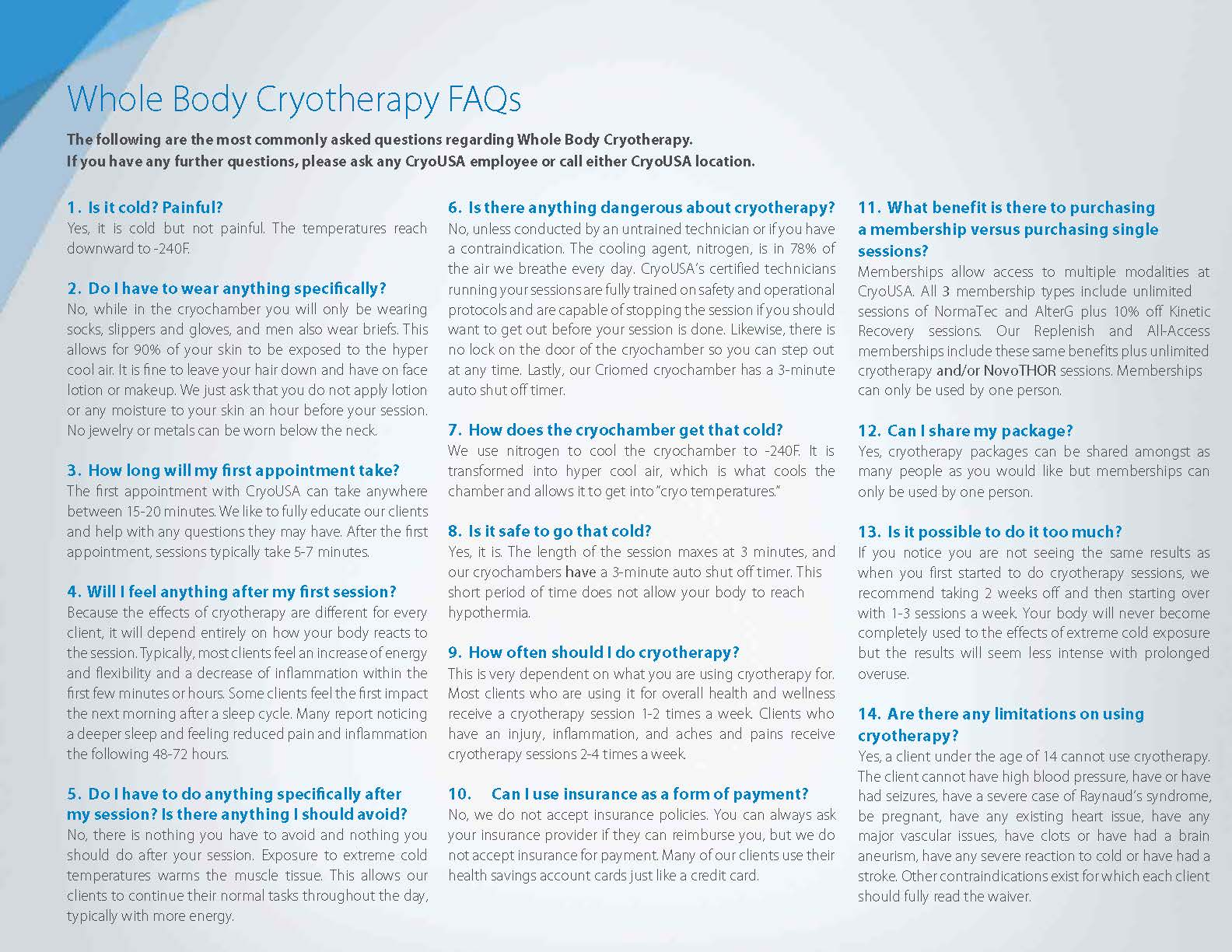 Cryotherapy FAQs
