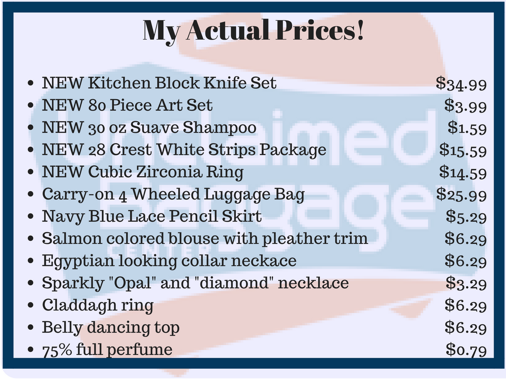 unclaimed baggage prices
