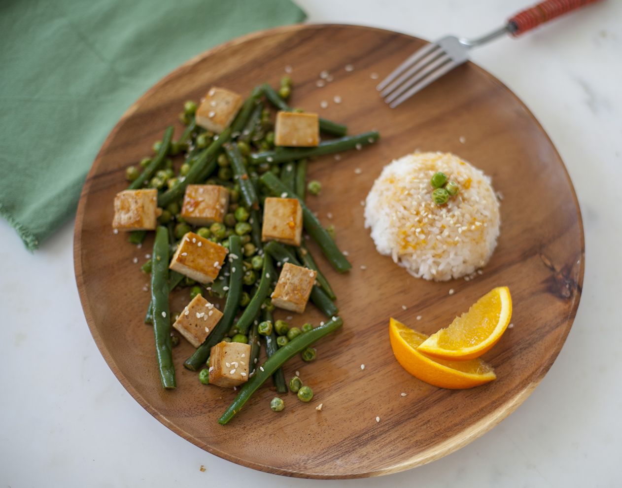 Stir-fried With Green Beans And Peas, And Tofu With A Beet Orange Sauce