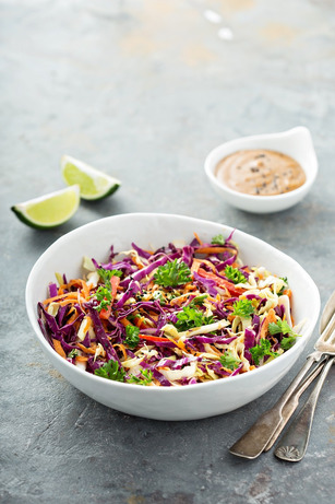 Asian cole slaw with sesame and peanut butter dressing