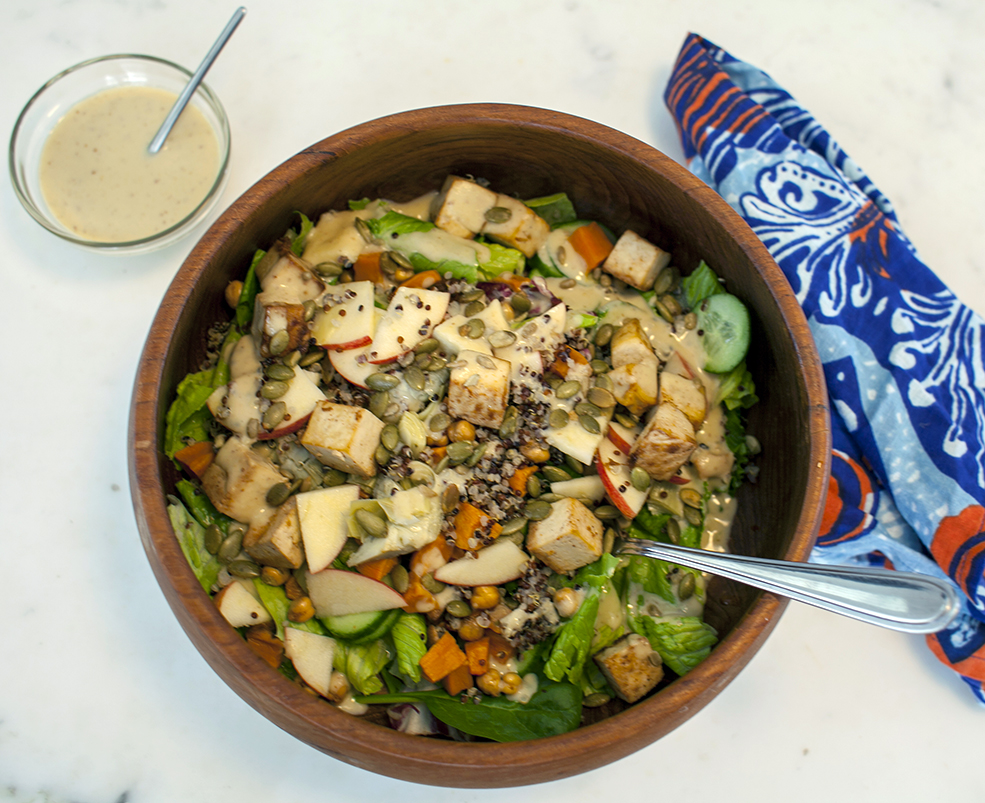 Gala Salad With Rosemary Mustard Miso Vinaigrette