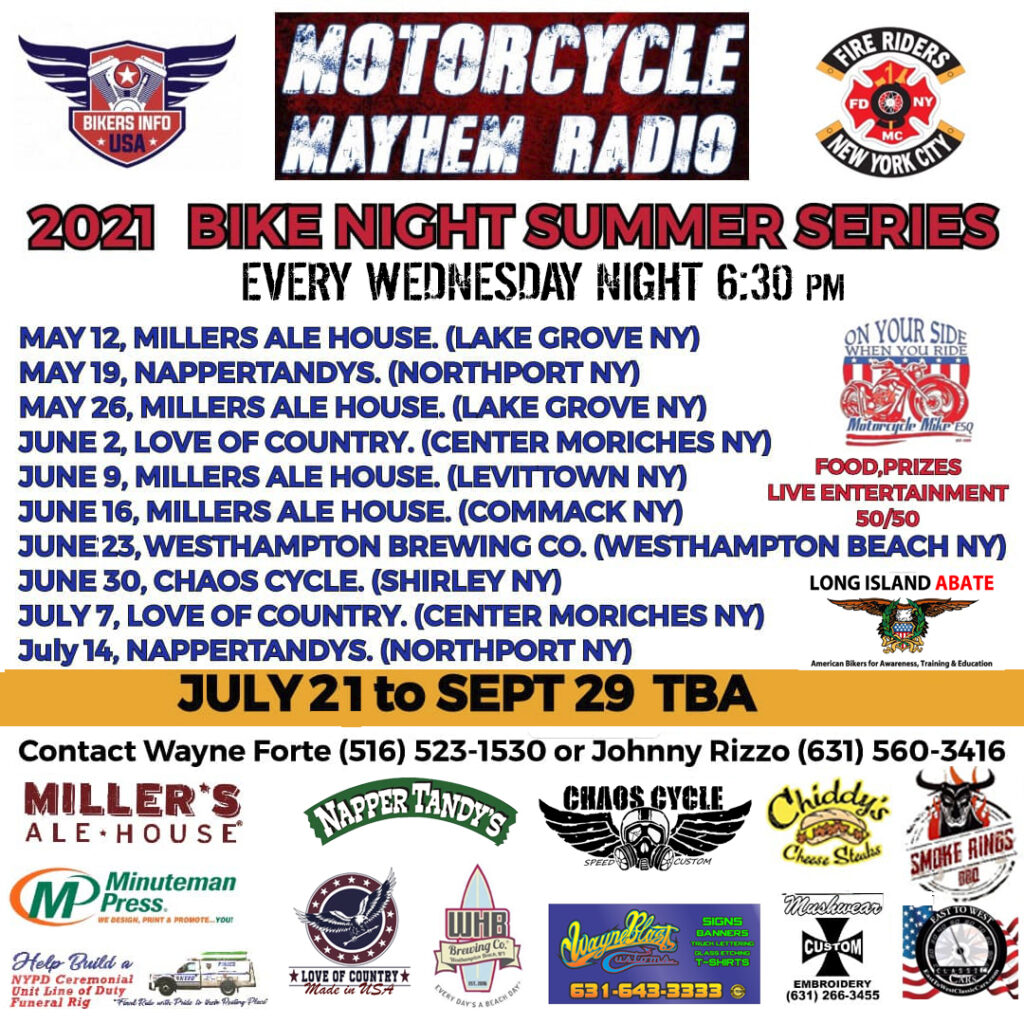 text listing dates for bike nights in new york