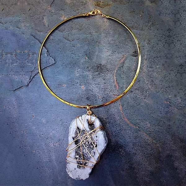 Grey Druzy Pendant with Gold Choker