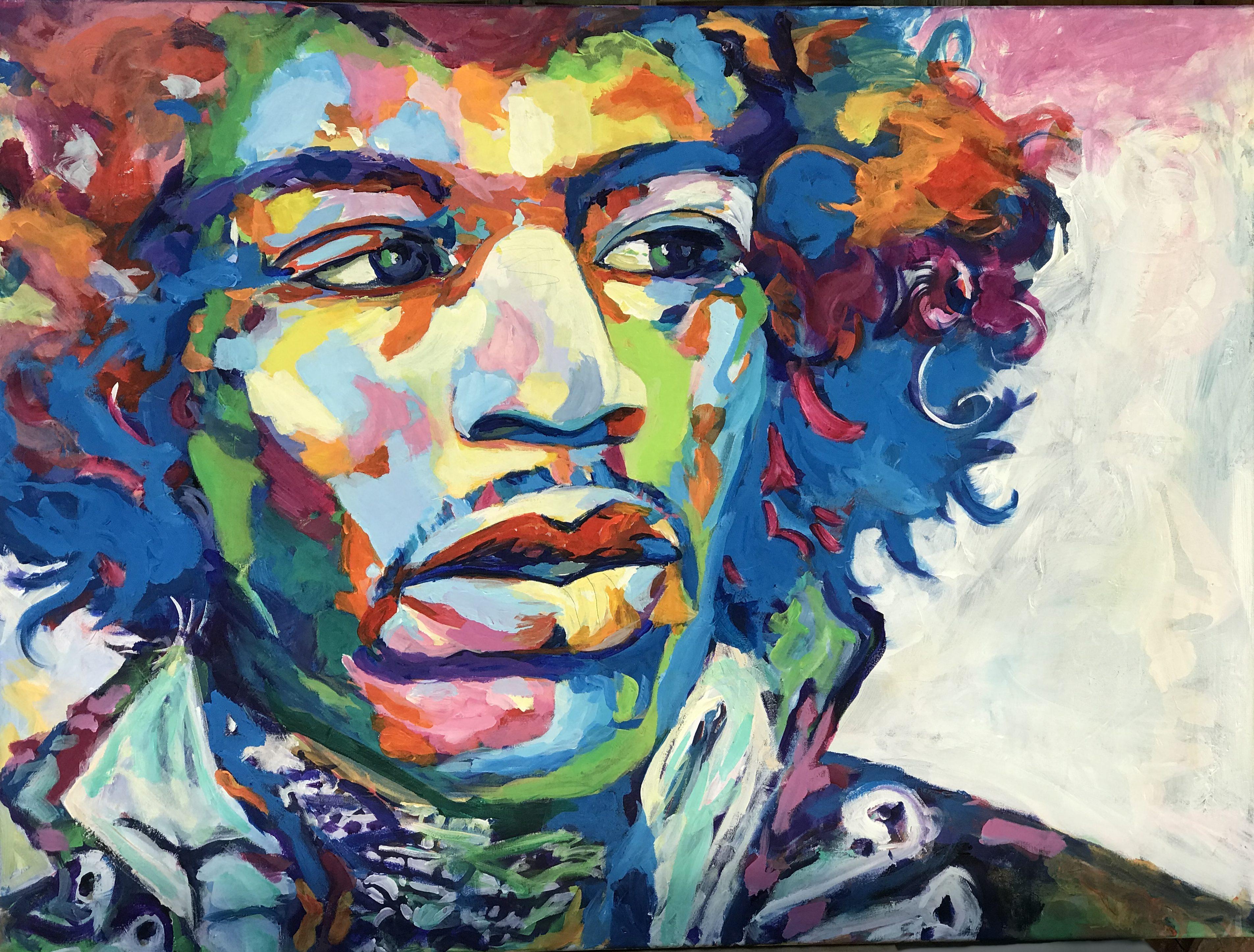 """Jimi Hendrix 36""""x 48"""""""