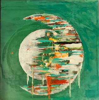 Metallic Green Moon Abstract