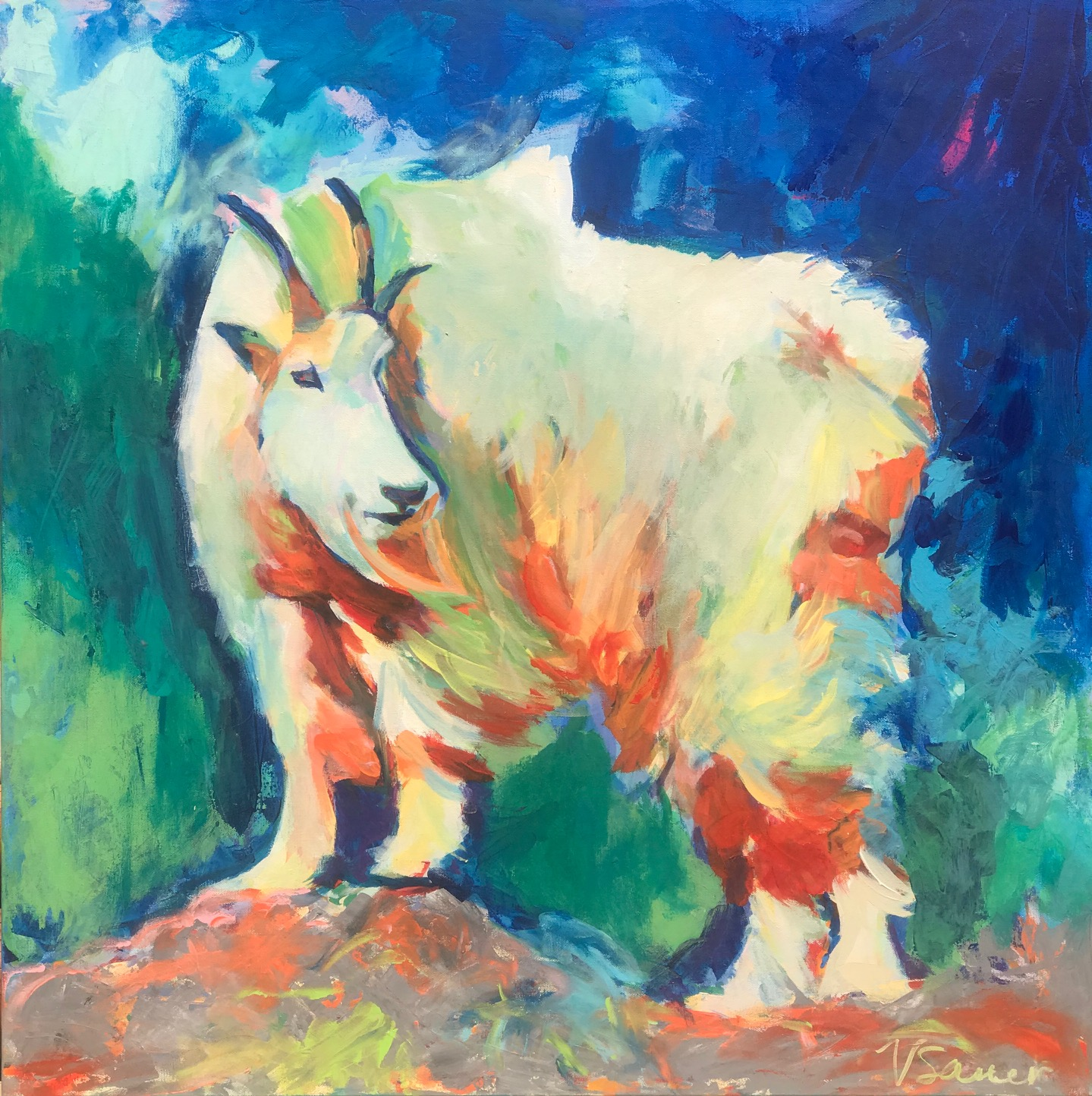 "PNW Mountain Goat 36""x36"""