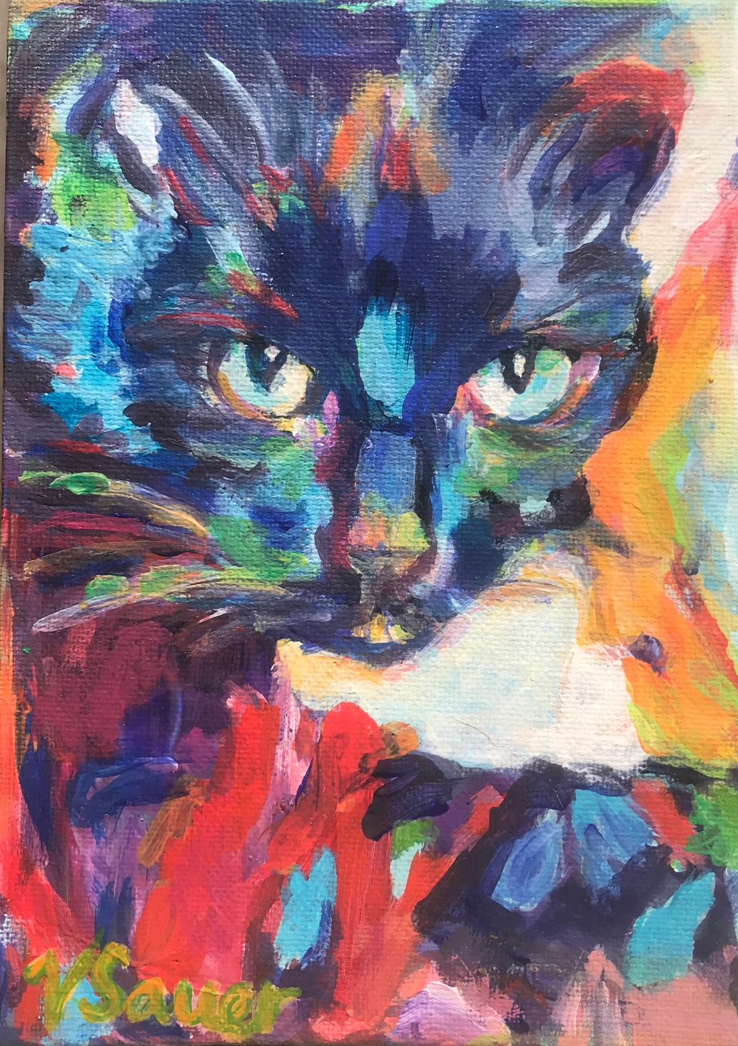 "Jules Black Cat 5""x7"""
