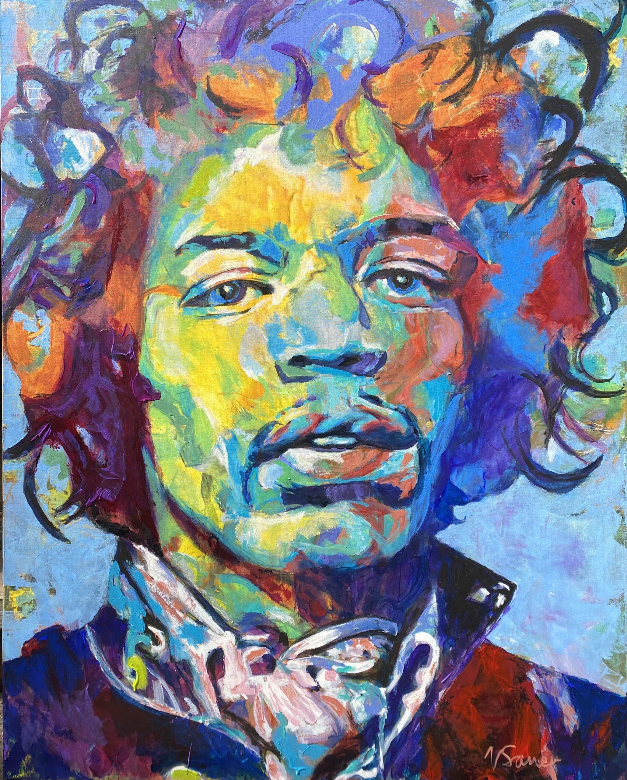 "Jimi Hendrix V 48""x60"""