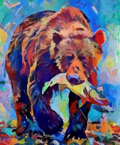 Bear with Salmon Catch