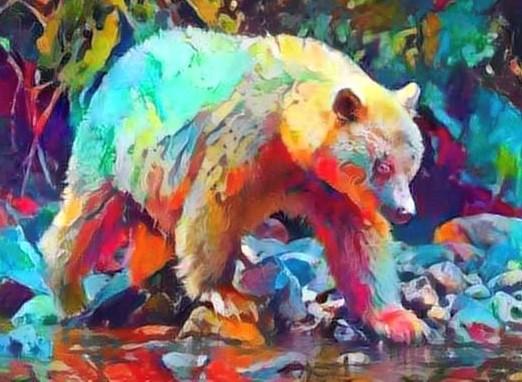 Spirit Bear on the river