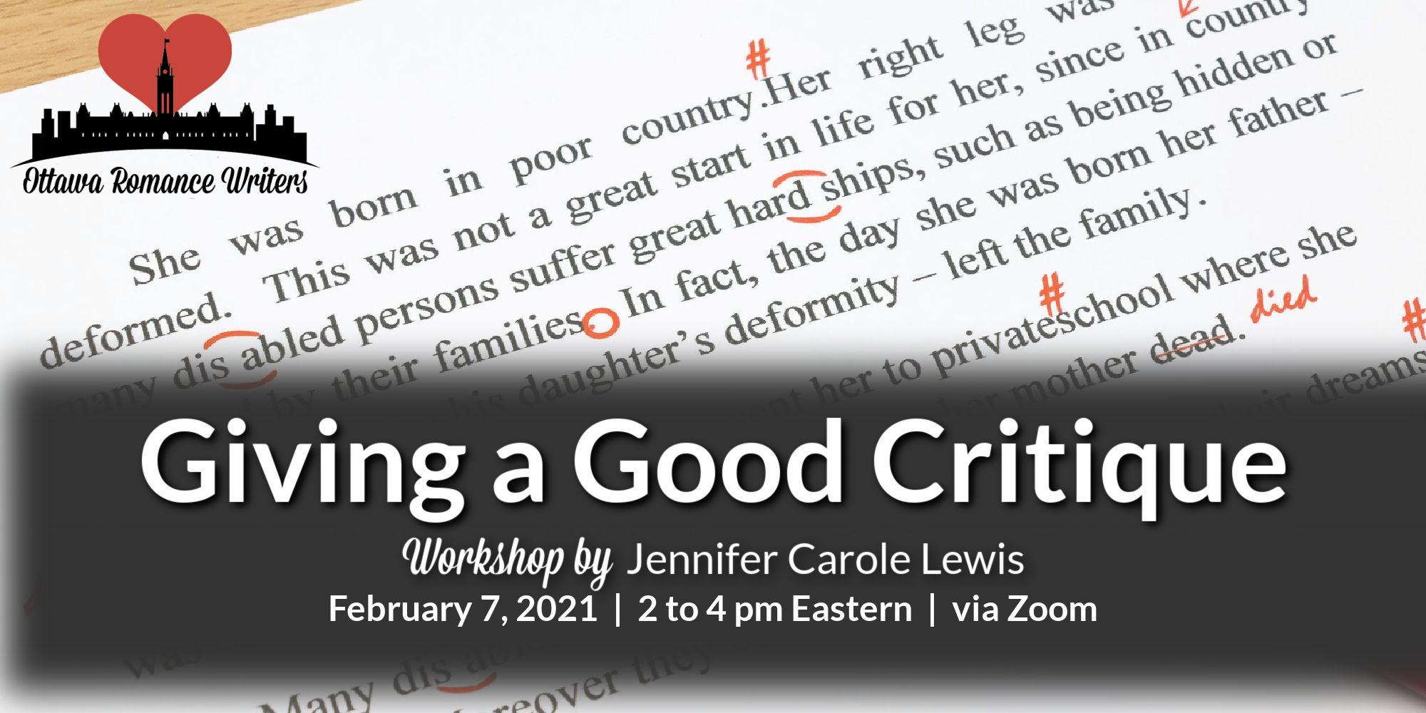 February 2021 Workshop – Giving a Good Critique