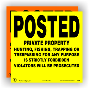 Posted-orange-yellow-private-property-sign