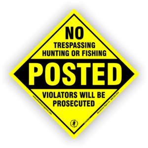 no-hunting-fishing-trespassing-diamond-posted-sign-605PNT-1