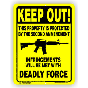 Yellow Aluminum Private Property Protected by Second Amendment Sign