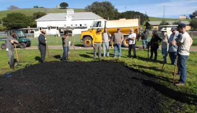 The result:  a nice pile of biochar that can be used in the very  vineyard where the vines were pulled out.