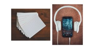 flash cards and smartphone with headphones