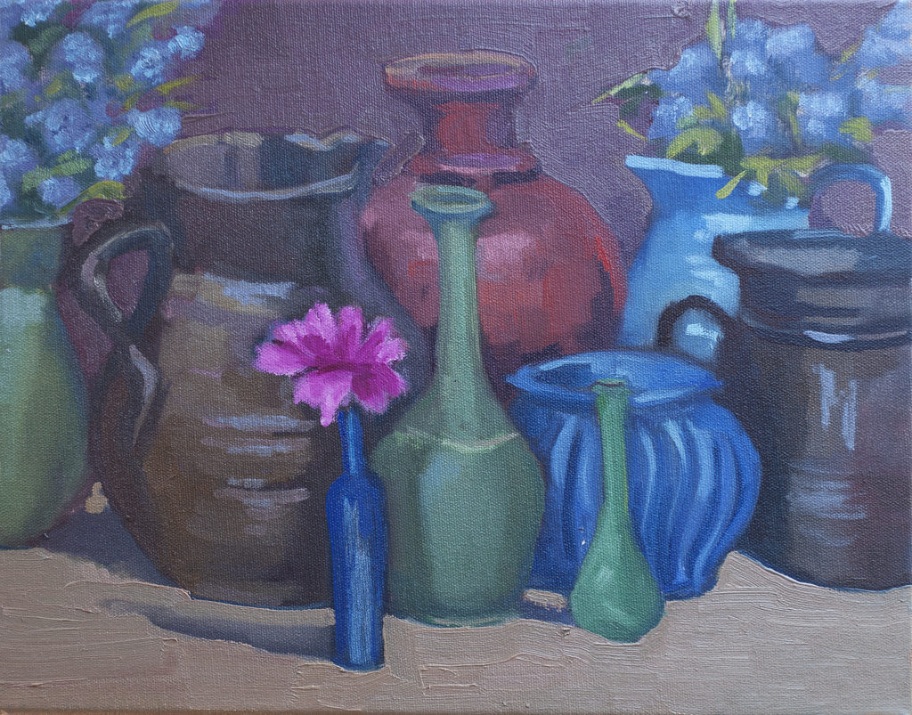 Holly's Pots, Magenta Flower by Erin Lee Gafill