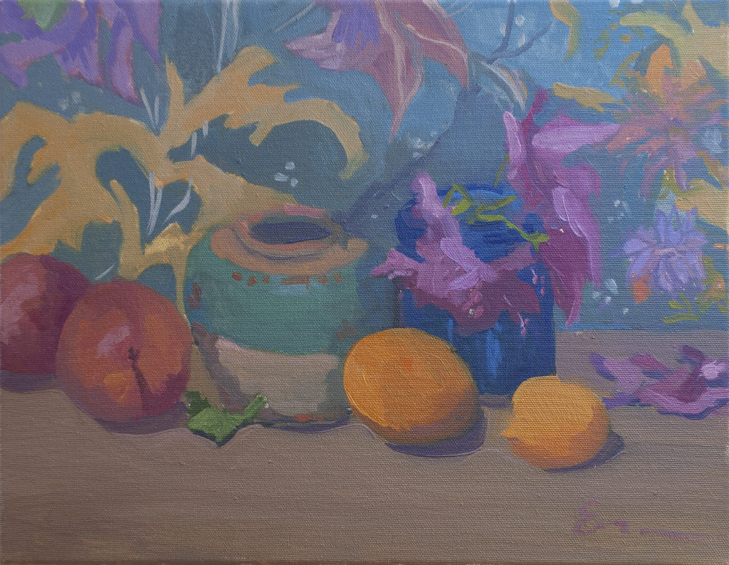 Roses, Ginger Jar, Patterned Cloth II by Erin Lee Gafill