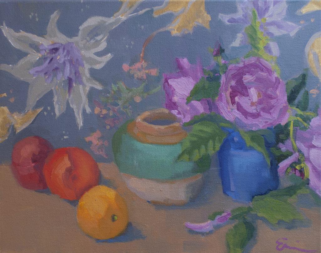 Roses, Ginger Jar, Patterned Cloth by Erin Lee Gafill
