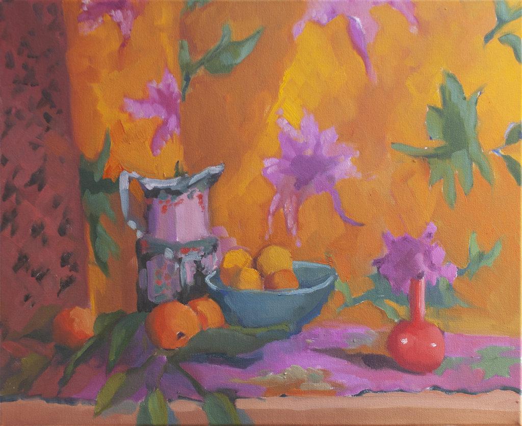 Indian Quilt, Red Vase, Magenta Flowers, Tangerine by Erin Lee Gafill