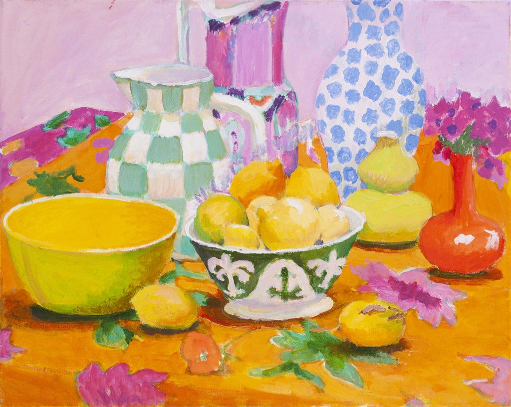 Still Life with Lemons in a Bowl by Kaffe Fassett