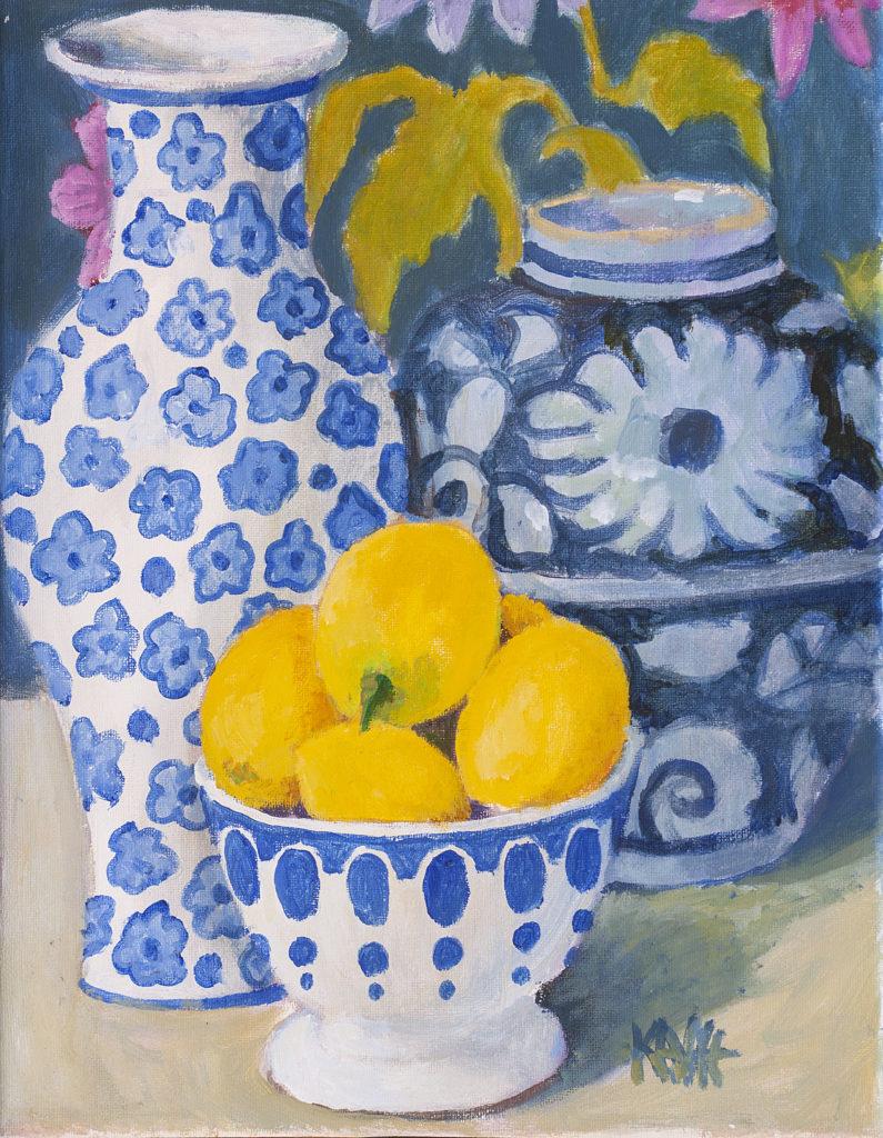 Blue Bowl of Lemons by Kaffe Fassett
