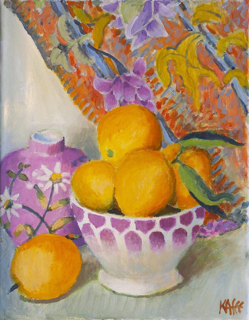 Bowl of Tangerines by Kaffe Fassett