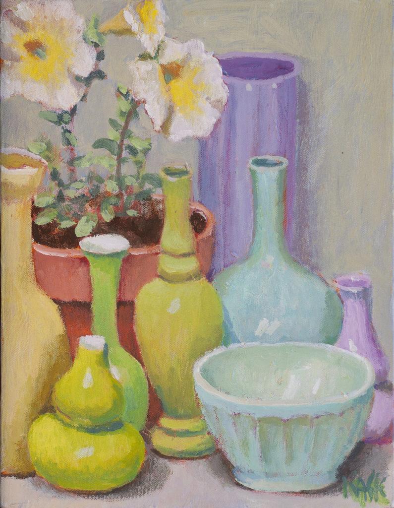Green Pots Yellow Flowers by Kaffe Fassett