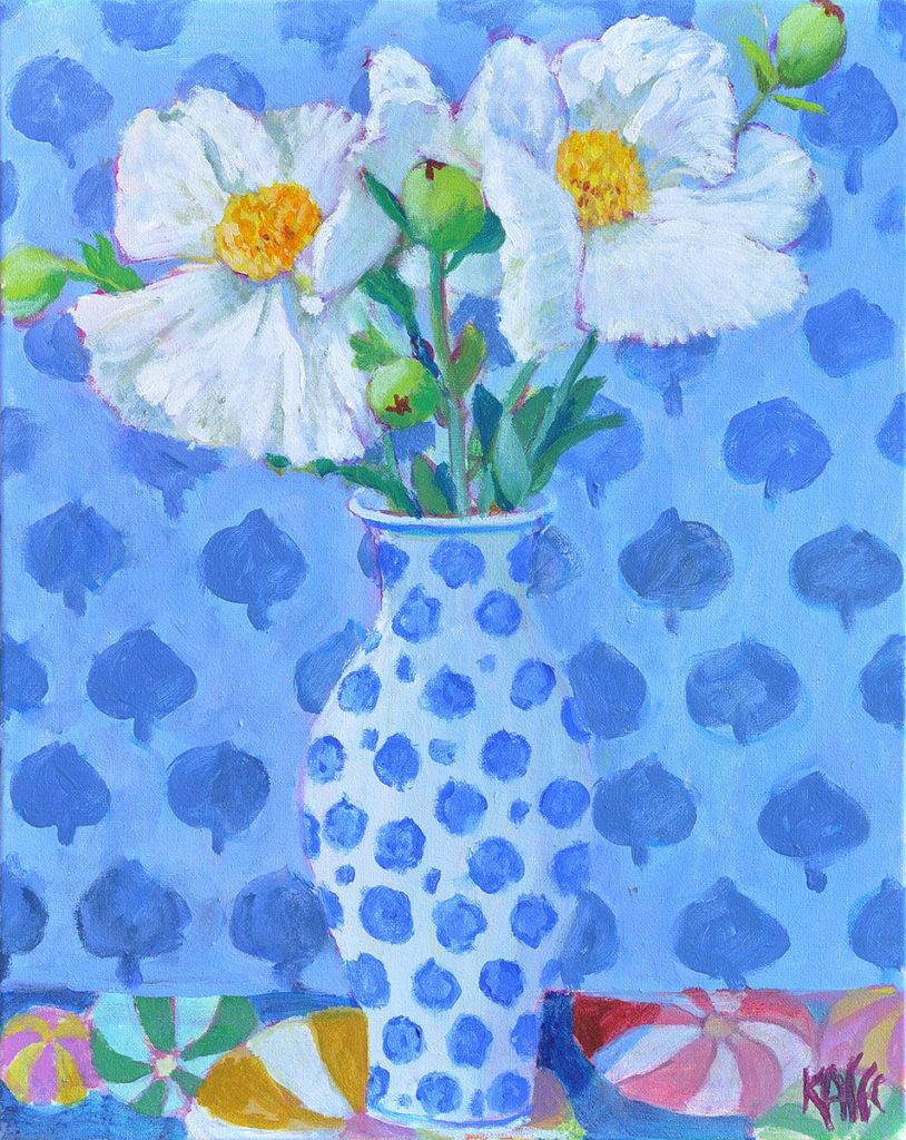 Matilija Poppies - Blue Wall by Kaffe Fassett