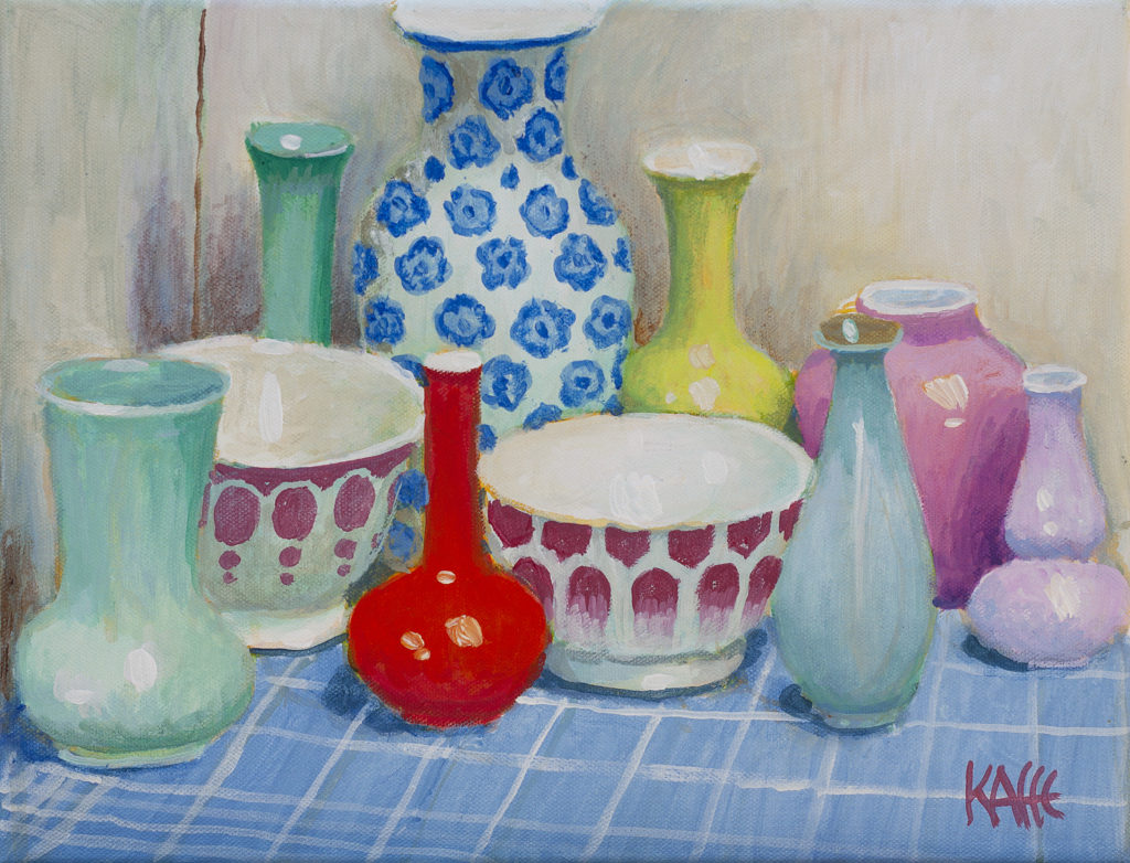 Bowls on Blue Check Cloth
