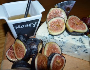 Stilton Blue Cheese served with Honey and Fresh Figs