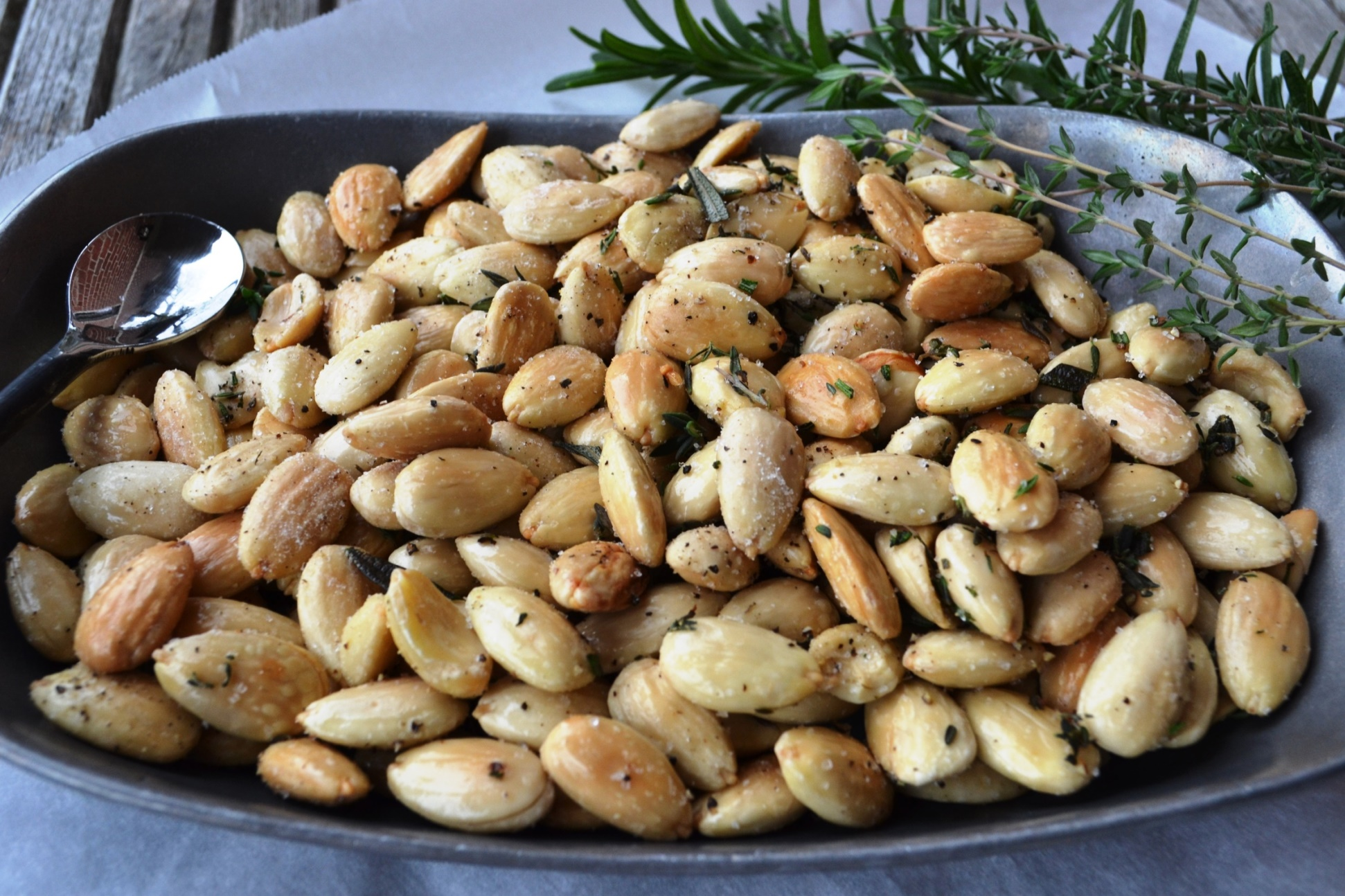 White Truffle Oil Fried Almonds with Herbs