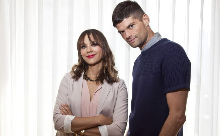 Actor and film writer Will McCormack with his Toy Story 4 co-writer, Rashida Jones