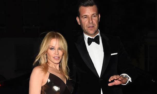 Kylie Minogue with her boyfriend Paul Solomons