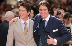 Oliver Phelps (right) with hsi twin brother James Phelps