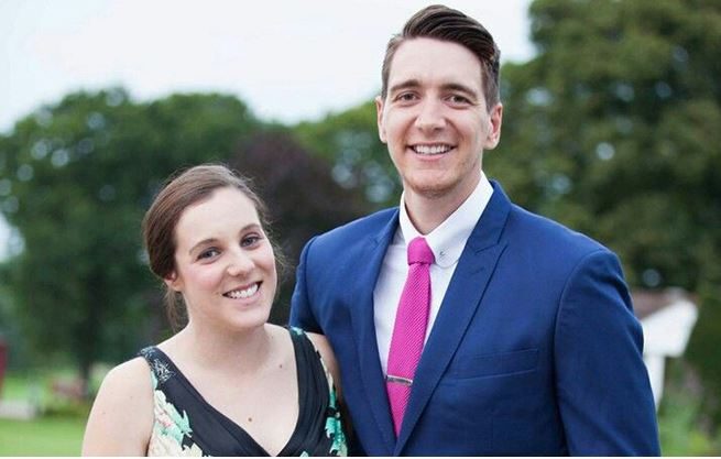 Oliver Phelps with his wife Katy Humpage