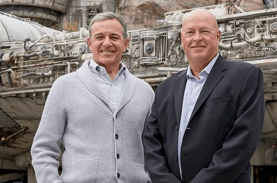 Disney's CEO Bob Chapek (right) photographed with his predecessor (left) Bob Iger