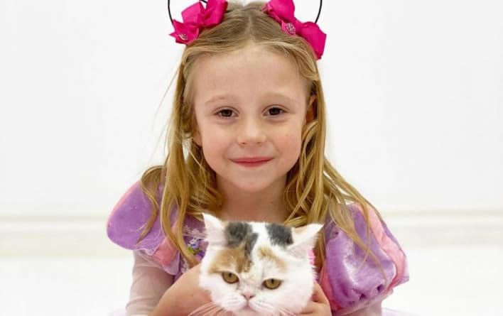 Kid Youtuber Like Nastya playing with a cat