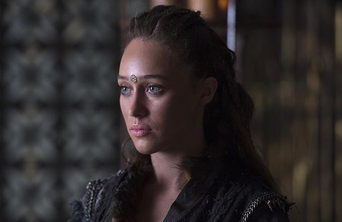 Actress Alycia Debnam on the set of The 100