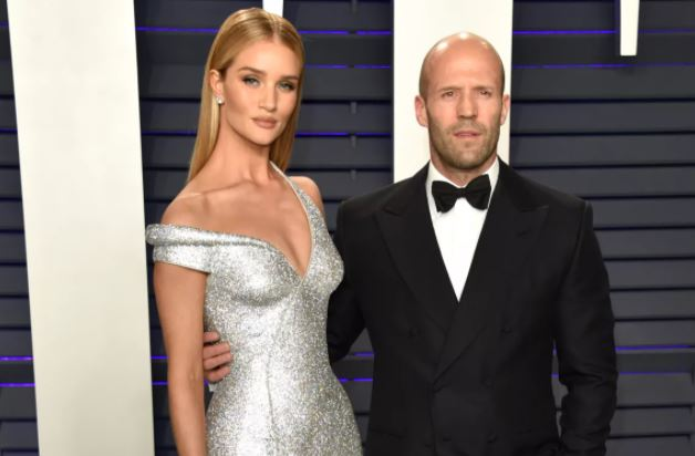 Jason Statham on the red carpet with his fiancée Rosie Huntington-Whiteley