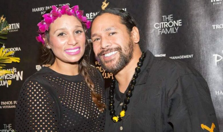 Theodora Holmes with her husband Troy Polamalu