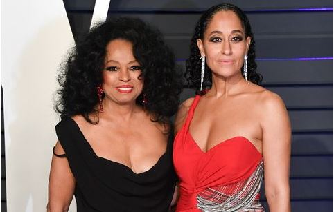 Actress Tracee Ellis Ross with her mother Diana Ross at an awards event