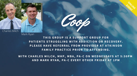 Coop Group.  Every Wednesday at 5:45pm or every other Friday at 1pm