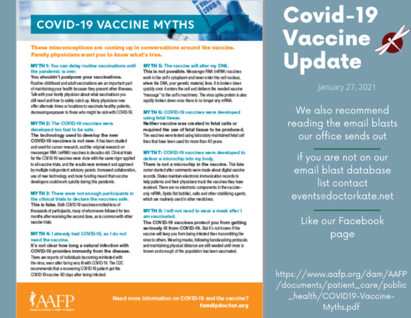 COVID Vaccine Update for Jan 27.  COVID Vaccine Myths.